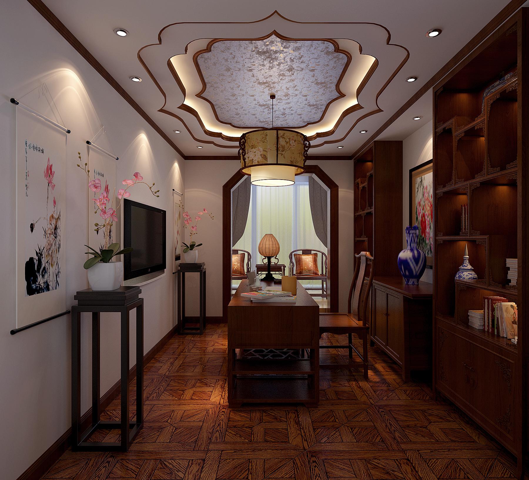 中式 四居 书房图片来自北京今朝装饰刘在V7西园中式文化生活的分享