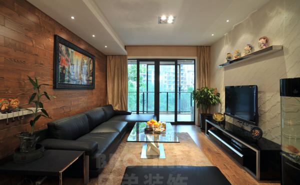 出于对客户的要求(温馨大方具有自然气息),首先入户进客厅第一感觉是非常重要的,电视墙使用了白灰色质感涂料,地面全部使用了地板,沙发背景墙使用了木质墙纸,对于整个空间具有了更多的自然,环保之意。