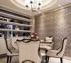 白色、素净座椅,简单花式隔断,让餐厅更大气