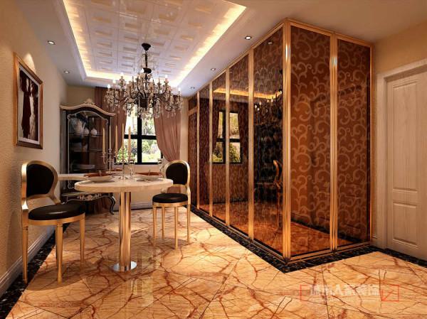 餐厅没有按照传统餐桌方式摆放,而是做了非常时尚的吧台来替代餐厅功能,使用与美观相得益彰。原本用餐的空间通过材质的对比及线条的勾勒打造出极具情趣的米兰印象。