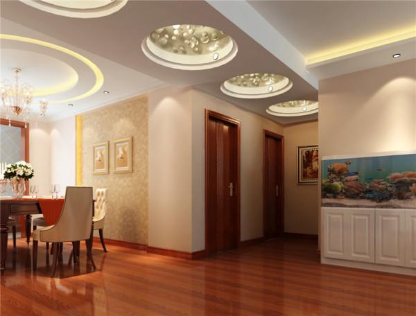 餐厅的顶面使用的是双环灯带造型设计,使空间灯光更明亮,空间感觉更有层次。