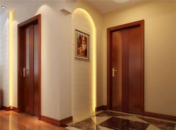 中间使用圆形造型,内置镜子、玻璃、装饰石,使整体空间不会感觉很压抑。
