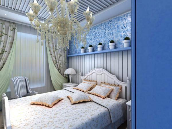 卧室--配以高档的吊灯,同时床头上也有一系列的小植物,为整个空间添加了生机。
