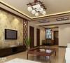 客厅的窗棂框架,素雅的电视背景墙,整个大厅没有太多装饰,简单明朗