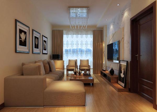 客厅 简约温馨的客厅  设计理念:采用米黄色,既温馨,又更适应现代生活的休闲与舒适 亮点:沙发墙不需过多的装饰,挂画简洁,l型沙发使利用率更高。