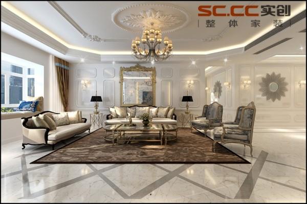 客厅:顶面造型精美,护墙板精致而考究。家具上镶嵌、镀金和亮漆的处理手法,起着重要的装饰性作用,极尽法式风格的高贵奢华和做工精细的特点。 地面选择白色大地砖铺贴,灰色波打线装饰其间,使空间明亮而雅致。