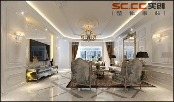 客厅:法式 宽敞明亮,白色法式,高贵典雅,低调奢华整个空间以时尚的绚丽白为主调,配以色彩绚丽的配饰为点缀。 客厅采用法式沙发搭配地毯,白色的大地砖使空间更加明亮,充满了浪漫优雅的法式气息。