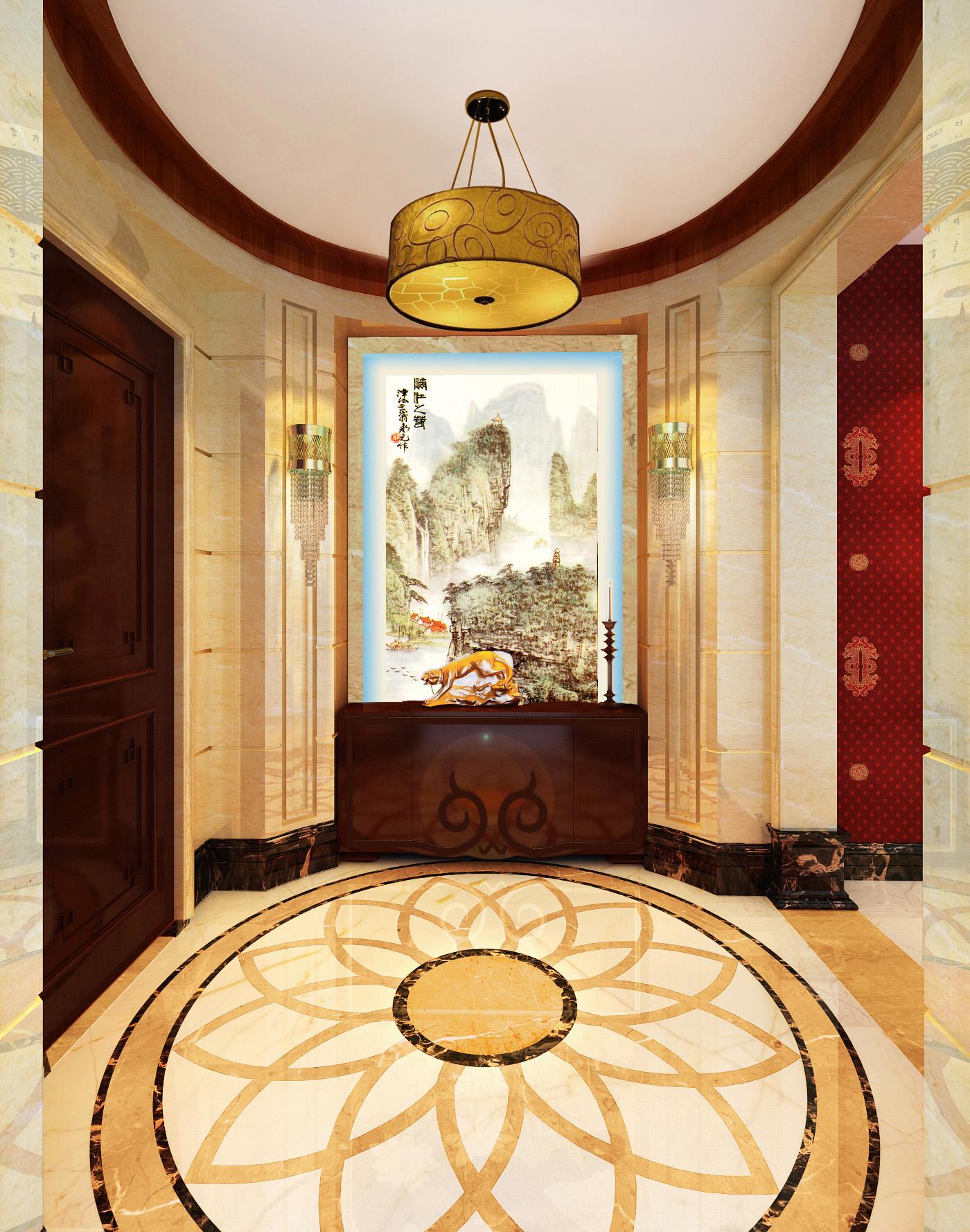 新中式 复式 玄关图片来自北京今朝装饰刘在东晶国际公寓新中式装饰设计的分享