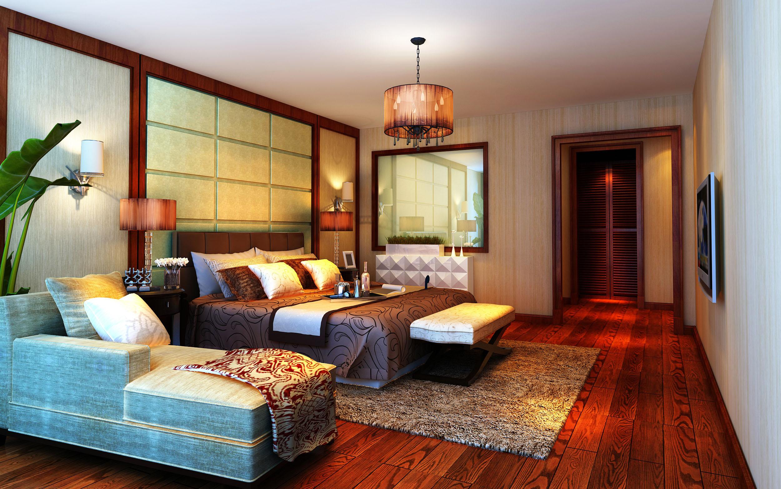 新中式 复式 卧室图片来自北京今朝装饰刘在东晶国际公寓新中式装饰设计的分享