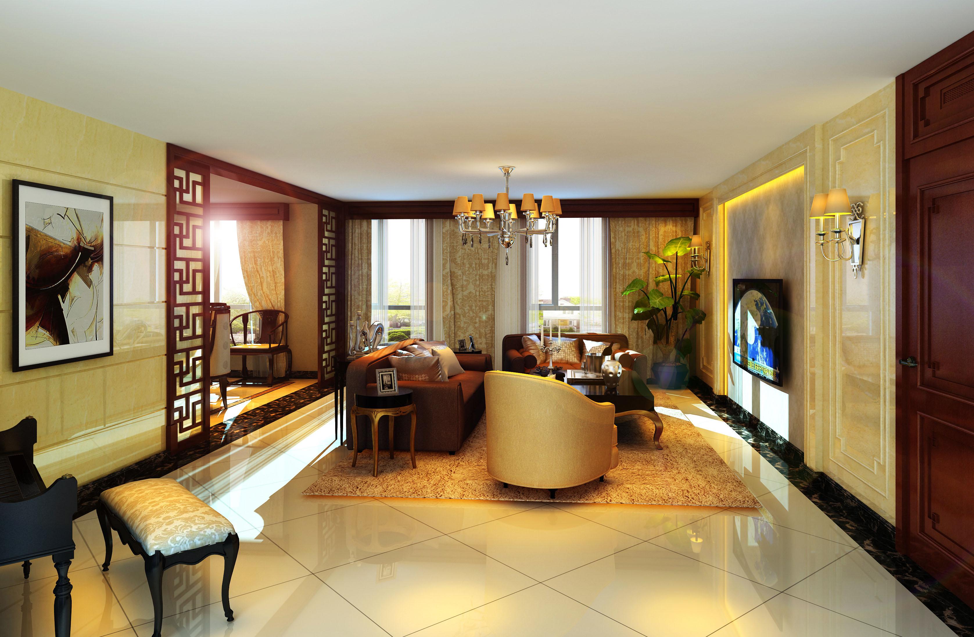 新中式 复式 客厅图片来自北京今朝装饰刘在东晶国际公寓新中式装饰设计的分享
