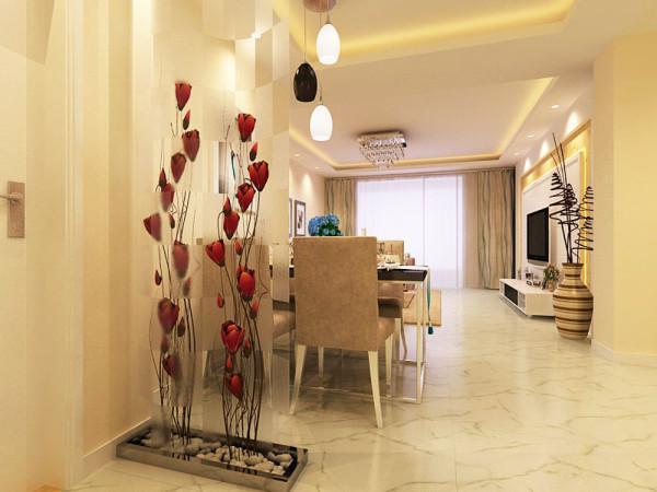 餐厅色彩同样丰富,精致的鲜花,舒适的布艺餐椅,金属与镜面结合的餐桌,独特的吊灯,共同营造出温馨浪漫的就餐氛围。入户玄关为印花玻璃和鲜花结合,春意盎然。