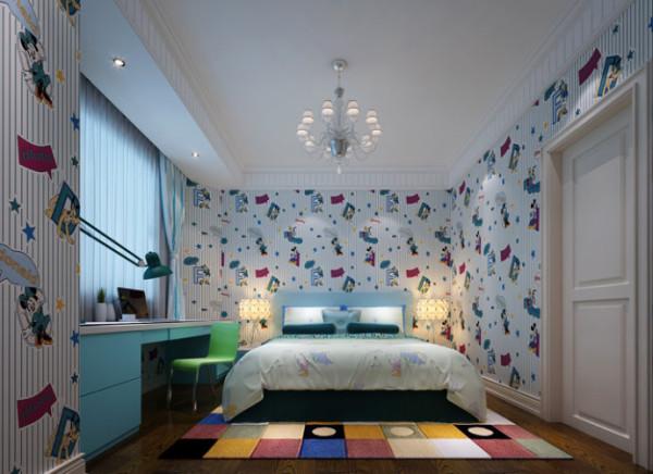 充满童话色彩的简单儿童房设计理念:儿童永远都是那么童真,童年的生活丰富多彩多彩多姿,为了给孩子营造一个趣味的生活环境,儿童房的装修千万不能小觑。壁纸的应用让整个儿童房更加趣味也让儿童充满想象力。