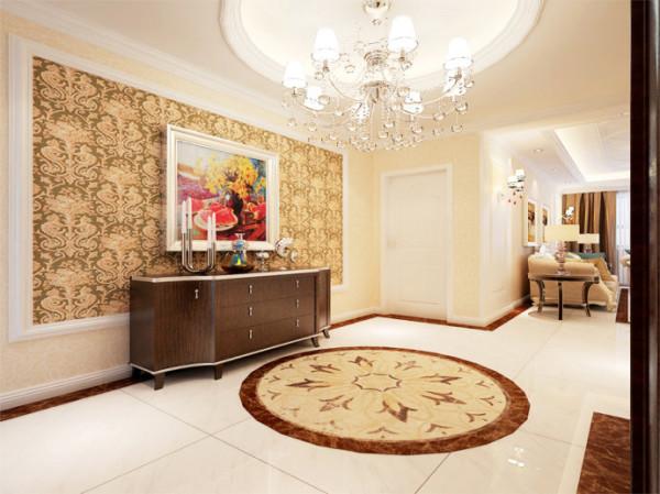 用格纹石膏板装饰客厅的吊顶,大方简洁。从墙面到地砖再到窗帘,大量运用深浅不一的米色让空间的层次感柔和递进,温暖入心。沙发中添几个墨绿色的靠枕,巧妙的撞色顿时让这个典雅的客厅显得灵气逼人。
