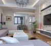 圆形图案的壁纸,一改白色背景墙的单调、冷酷,浅紫色的沙发设计,让客厅变得有人情味