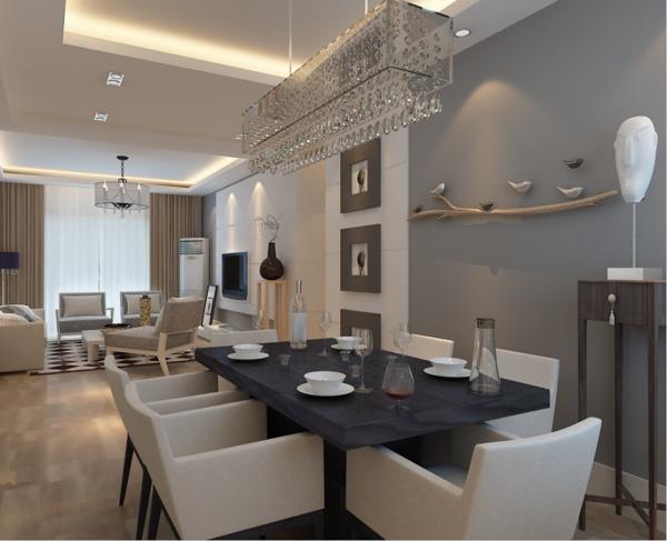 餐厅的设计往往同客厅一样,在设计上占据很重要的地位,很多时候客人来家里主要看到的就是客厅和餐厅。本案中餐厅的位置与客厅同处一个空间,分别占据左右两侧,餐区的吊顶与客厅吊顶相呼应,以简洁为主