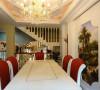 餐厅装修设计中红白调餐桌椅与客厅家具风格牢牢呼应,背景墙上的立体设计如一个天然相框,将深嵌于内的风景油画妆点得愈发瑰丽、生动。