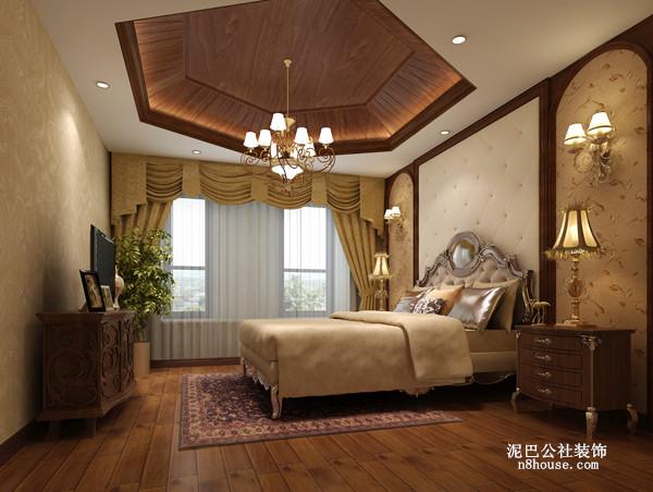 中式 复古 奢华 别墅 卧室 卧室图片来自泥巴公社设计师陈康在简约风尚 奥林匹克花园的分享