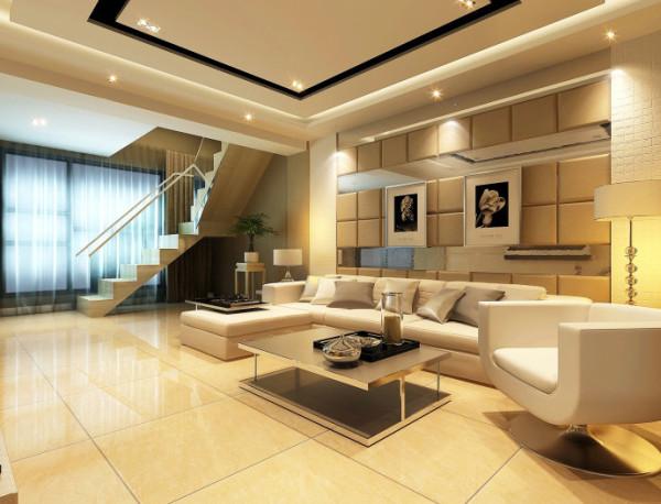 客厅设计: 使用米色大理石和一些局部的亮面质材营造精品饭店的感觉,让居家环境豪华和舒适。墙面运用砂岩、软包,中间穿插镜面呈现强烈时尚感。