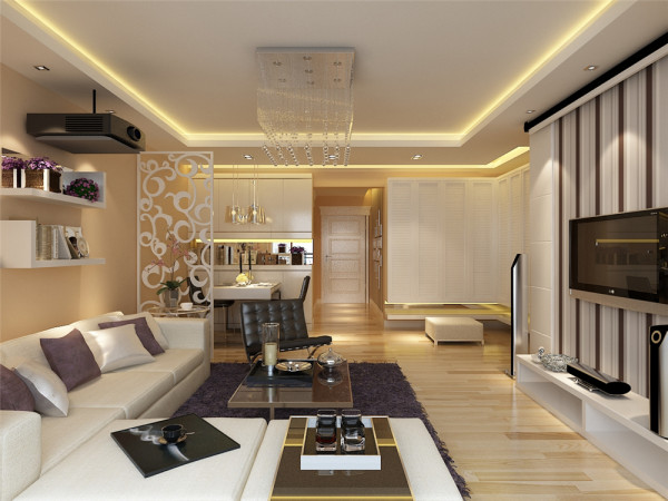 电视背景墙采用米黄色条状的壁纸和简洁的膏板造型,配以柔和的灯光,沙发背景墙与此相呼应,显得整体空间时尚大气。卧室以柔和的米黄色为主调,使空间温馨而显得宽敞。