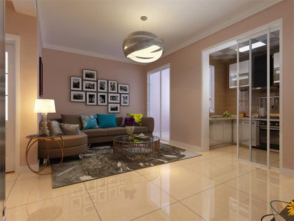 一层客厅墙面刷奶咖色乳胶漆,顶面没有过多的造型,而是采用双层石膏板叠级的造型方式,既简单,又美观;