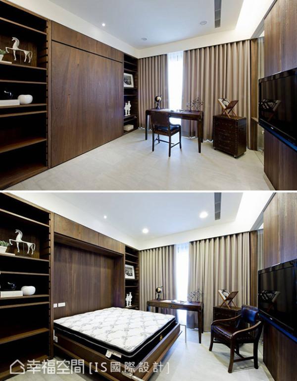 简洁平整的木皮中,附设有掀床设计,可直接转换成客房使用,使空间更具弹性及实用效益。