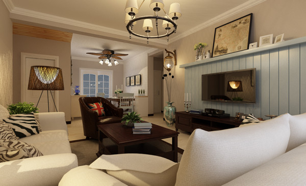 美式乡村的客厅设计有着沉静素雅的美,温馨舒适的中性色带来随性的自由,电视背景墙随性自然,和整个客厅的氛围保持和谐一致,有着朦胧又清新的意境