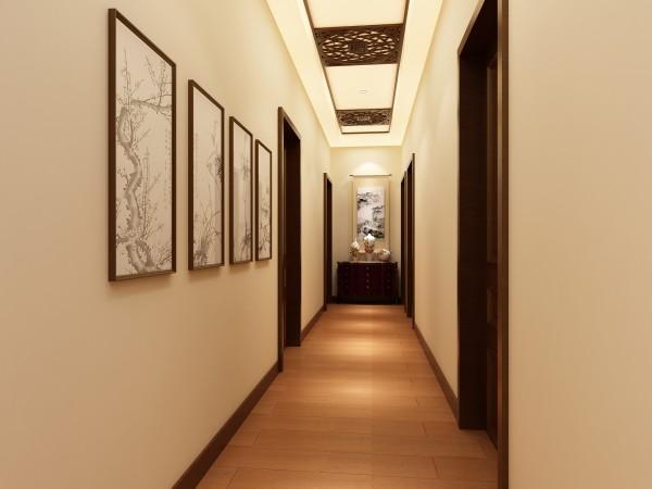 走廊:美式古典餐桌,搭配长方形水晶吊灯,温婉雅致,简约的电视柜衬托出古典家具的奢华,在用餐中尽享视觉盛宴。