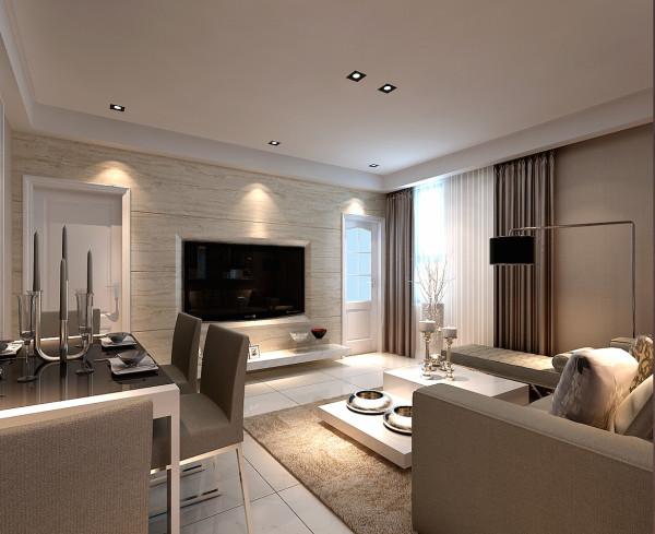 整个客厅以浅色调为主,整体简洁,尽显沉稳,主人个稳重,运用石材,凸显客户品味和性格。石材,加上石材拼缝,这种硬朗的材质搭配具有布艺的沙发,软硬结合,使房子更有层次感,又能在空间中增添一丝丝暖色。