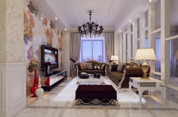 在设计的过程中设计师大胆的尝试了把客厅和书房的位置互换,通过恰到好处的雕花隔断、墙面造型引导出穿透通畅的视觉感,空间均称和谐,功能布局合理科学。