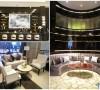 此处为酒吧休息区,中性灰调的布艺沙发组合搭配醒目的玫瑰金茶几,富有纹理走向的手工羊毛地毯为空间增添了几分雅致,突显品质感,为顾客营造轻松舒适的享受环境。