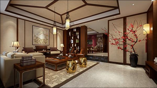 客厅以中式风格为主,以沉稳低调的胡桃木色为主色调,以浅色为主深色为辅。相对比拥有浓厚中式风味的中式装修风格,简约更为清新、也更符合中国人内敛的审美观念。