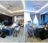 此处为首层VIP休息区,优雅的装饰吊灯点亮整个空间。
