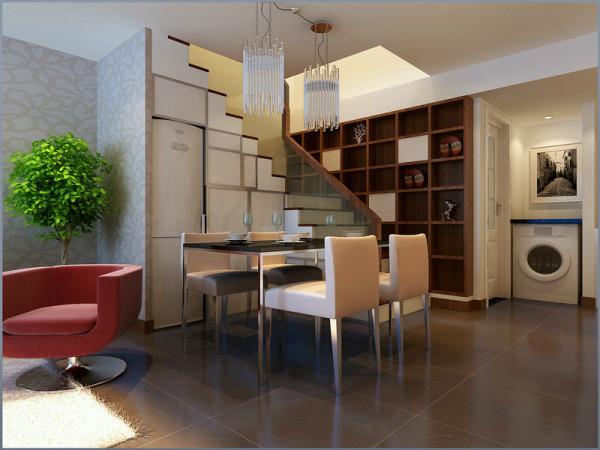 楼梯对面的墙壁,做成博古架,增加修饰,也增加了储物空间,餐桌采用了奶白色