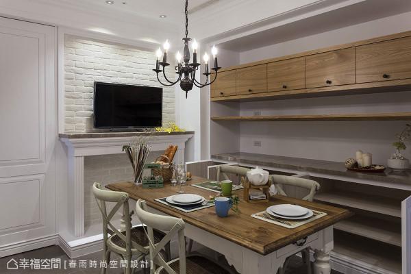 美式风格中不可或缺的造型壁炉,在餐厅中表现温暖的用餐情境。