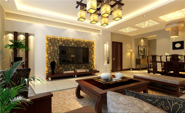 空间装饰多采用简洁、硬朗的直线条、中式的沙发,地面的地毯民族拼花装饰品及黑、红为主的装饰色彩上。室内多采用对称式的布局方式,格调高雅,造型简朴优美,色彩浓重而成熟。