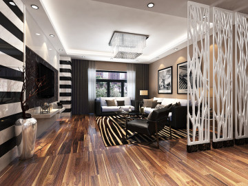 184平四居室黑白调简装设计