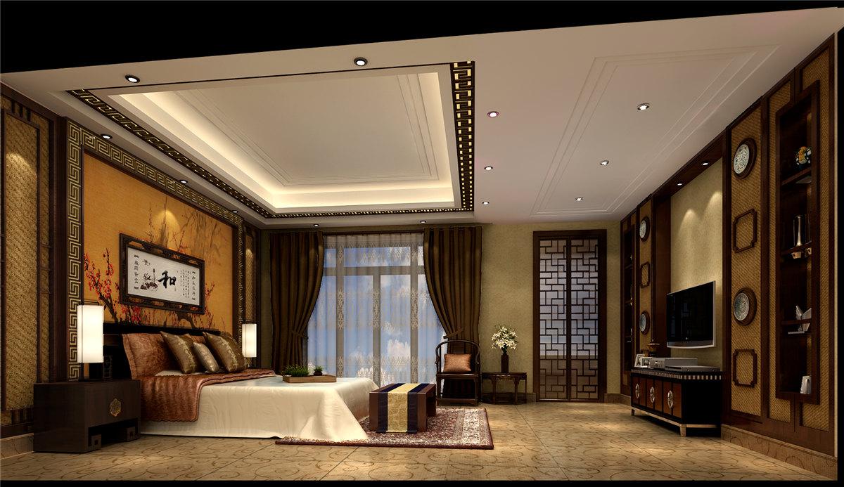 四居室 中式风格 豪宅装修 60后 卧室图片来自名雕装饰设计在中式典雅豪宅装修的分享