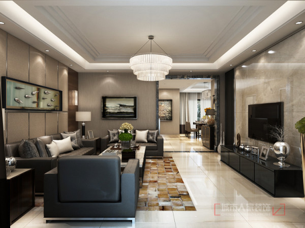客厅在电视墙设置了射灯,运用辅助灯光来调节空间气氛,让光线富有层次感,设计中没有运用过多的装饰,简约设计的家具配上现代的布艺软装,体现现代与中式风格的结合,传统中透着现代,现代中揉着古典。