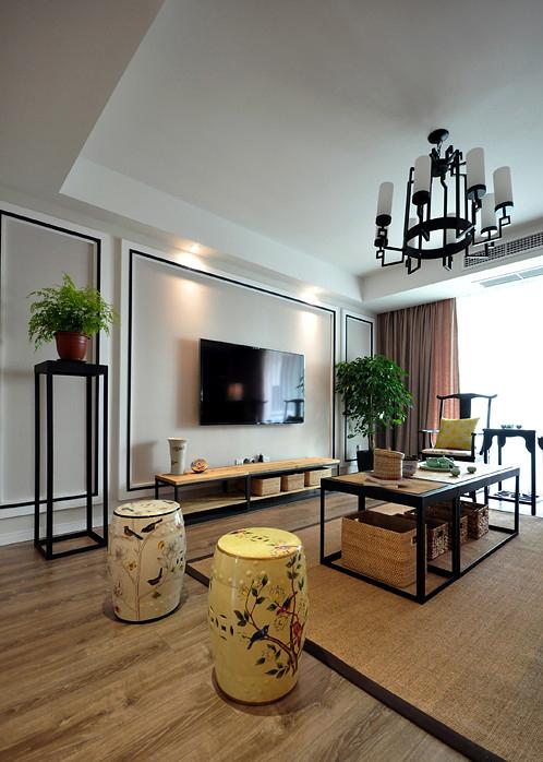 客厅图片来自家装大管家在145平新中式雅居 演绎豁达含蓄的分享