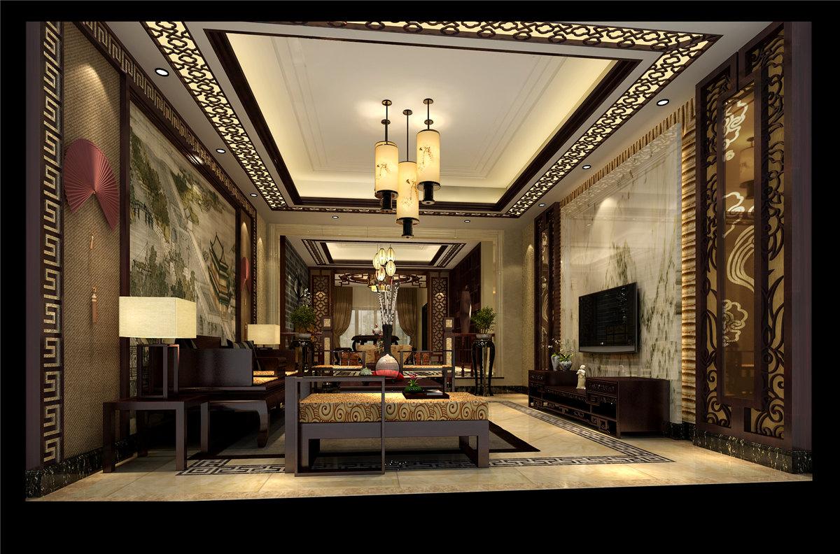 四居室 中式风格 豪宅装修 60后 客厅图片来自名雕装饰设计在中式典雅豪宅装修的分享