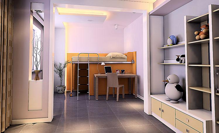 简约 三居 儿童房图片来自郑州实创装饰-杨淑平在正商新蓝钻127平时尚简约设计图的分享