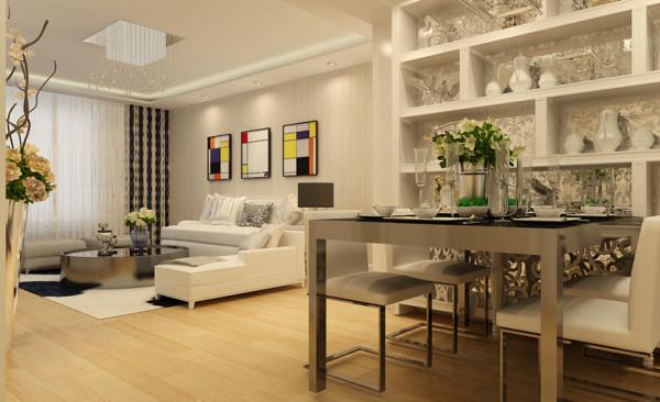 餐厅设计: 在整体的色彩搭配以及家居配饰的使用上还是和客厅空间起到了一定的呼应作用。简单的配饰为空间增添了几分文艺范,体现出主人对家居独特的品味。