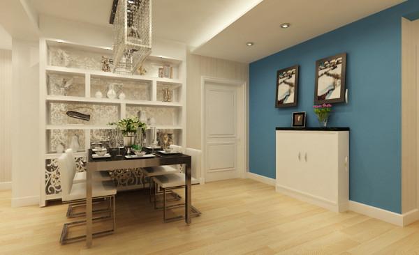 门厅设计: 入户采用了整面蓝色乳胶漆进行了挑色,让整个客厅空间的色彩更丰富,中和了客厅大面积暖色带来的陈旧感。入户的吊顶让整个餐厅空间显得更加宽敞。