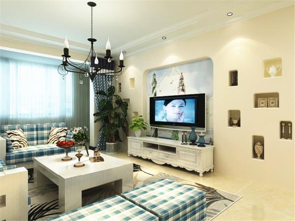 该户型的设计风格为地中海风格。整个空间以暖色调为主,暖色的光源给空间营造了温馨舒适的感觉。