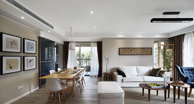 客厅图片来自家装大管家在时尚典雅 134平现代北欧混搭3居的分享