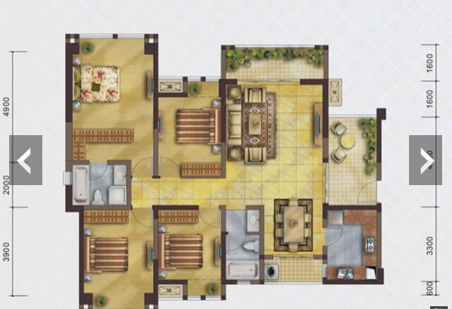 简约 田园 小资 三居 户型图图片来自四川岚庭装饰工程有限公司在124平现代田园风的分享
