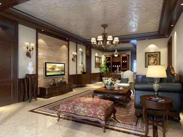 充分满足了客户的生活需求.客厅电视背景墙石材,吊顶成品线条加上石膏板现场制作造型,凸显时尚感和扩张感。