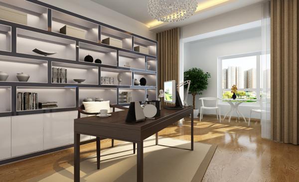 书房设计: 整体的家具风格与客厅卧室相似,体现出了现代简约风格的简单大方。家具的风格与主人的身份吻合,体现出了主人的生活品味。大地色的窗帘与整个空间的色彩相呼应,美观时尚