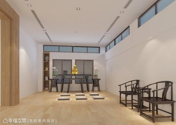 为保留窗景神明厅加以木百叶处理的窗面,落地窗有了采光与空气流动。(此为3D合成示意图)