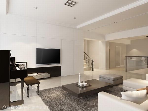 黑白构筑的电视主墙面,沟缝修饰了女孩房的出入动线,进退之间变化了墙面层次。(此为3D合成示意图)